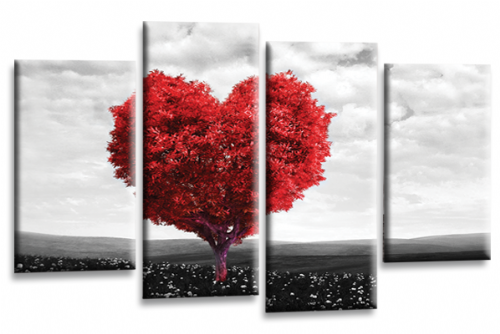 Love Heart Canvas Wall Art Picture Floral Tree Red White Print